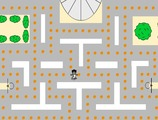 Pacman-juego-con-un-jugador-de-baloncesto-y-baloncesto
